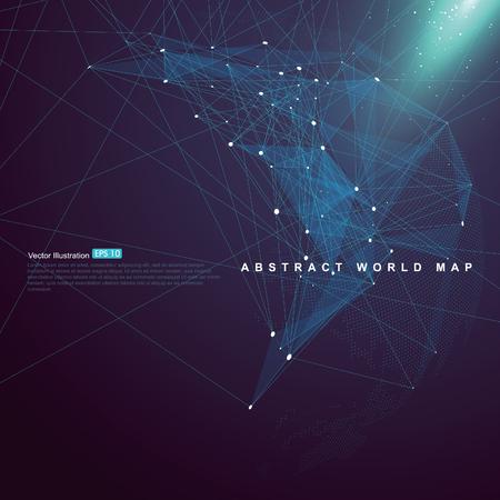 Illustration pour World map point, line, surface composition  shows Global network connection - image libre de droit