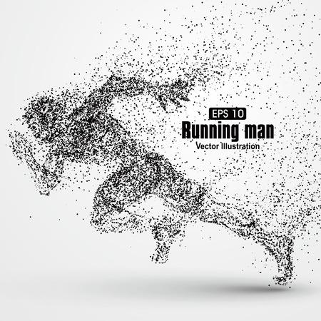 Ilustración de Running Man, particle divergent composition, vector illustration. - Imagen libre de derechos