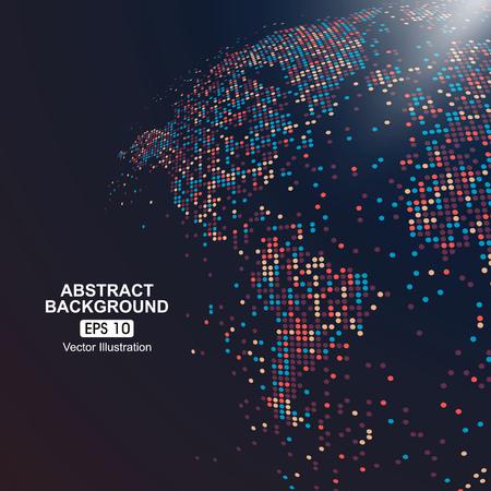 Ilustración de three-dimensional map of the world with colorful dots - Imagen libre de derechos