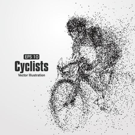 Ilustración de Cyclists, particle divergent composition, vector illustration. - Imagen libre de derechos