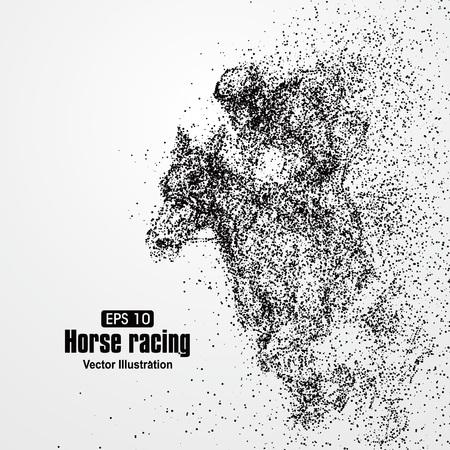 Ilustración de Horse racing, particle divergent composition, vector illustration. - Imagen libre de derechos