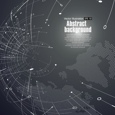 Ilustración de Point and curve constructed the sphere wireframe, technological sense abstract illustration. - Imagen libre de derechos