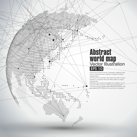 Illustration pour Three-dimensional abstract planet, Dot world map consisting of, representing the global, Global network connection,international meaning. - image libre de droit