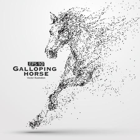 Ilustración de Galloping horse,particles,vector illustration. - Imagen libre de derechos