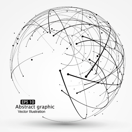 Illustration pour Point and curve constructed the technological sense abstract illustration. - image libre de droit