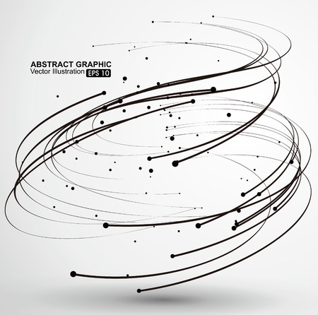 Illustration pour Points and curves of spiral abstract graphics. - image libre de droit