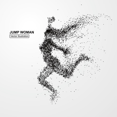 Photo for Jump woman,Vector graphics composed of particles. - Royalty Free Image