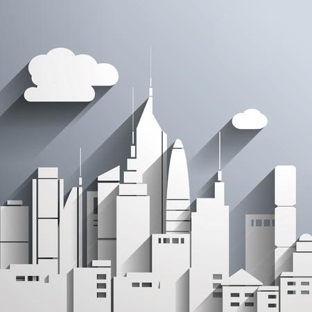 Paper-cut style city illustration.