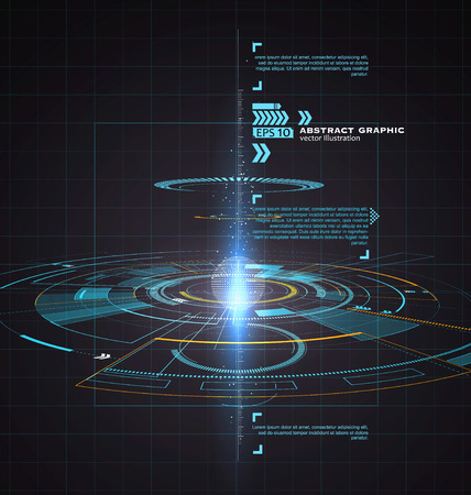 Ilustración de Three-dimensional interface technology, science fiction scene. - Imagen libre de derechos