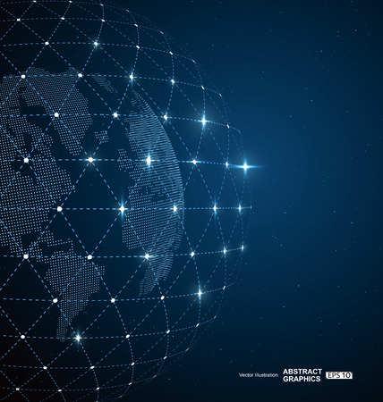 Illustration for World map, dots and  lines create global  network connection concept background - Royalty Free Image