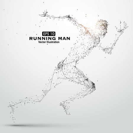Illustration pour Running Man, points, lines and connected to form  illustration. - image libre de droit