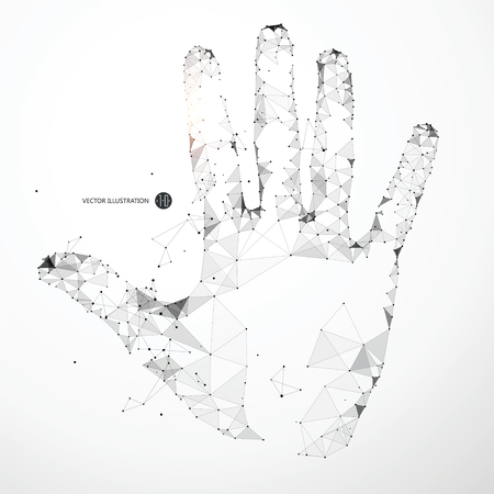 Illustration for Points, lines, and faces form the shape of the palm. - Royalty Free Image