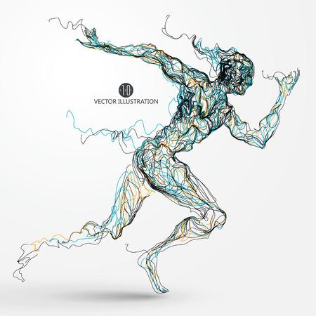 Ilustración de Running man, colored lines drawing, vector illustration. - Imagen libre de derechos