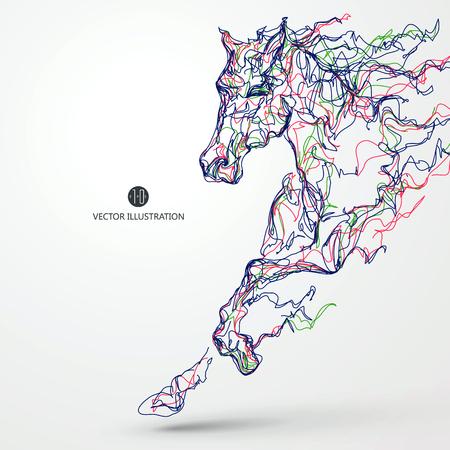 Ilustración de Running horse, colored lines drawing illustration. - Imagen libre de derechos