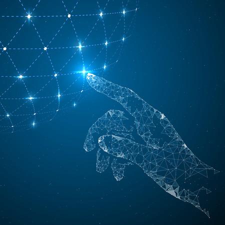 Illustration pour Touch the future, illustration of a sense of science and technology. - image libre de droit