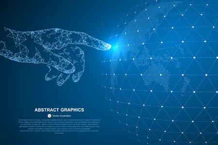 Photo pour Touch the future, vector illustration of a sense of science and technology. - image libre de droit
