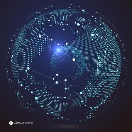 Ilustración de World map point, line, composition, representing the global, Global network connection,international meaning. - Imagen libre de derechos
