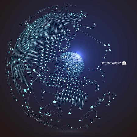 Illustration pour World map point, line, composition, representing the global, Global network connection,international meaning. - image libre de droit
