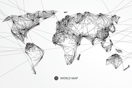 Point, line composition of the world map, the implication of network connection.