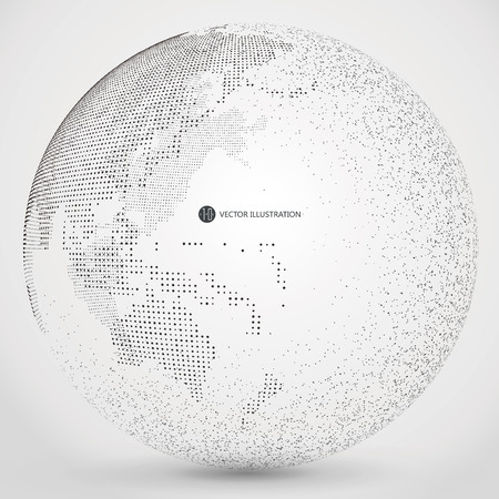 Illustration for Three-dimensional abstract planet, dots, representing the global, international meaning. - Royalty Free Image