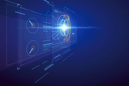 Illustration pour Three-dimensional interface technology, science fiction scene. - image libre de droit