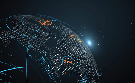 Illustration pour Futuristic globalization interface, a sense of science and technology abstract graphics. - image libre de droit