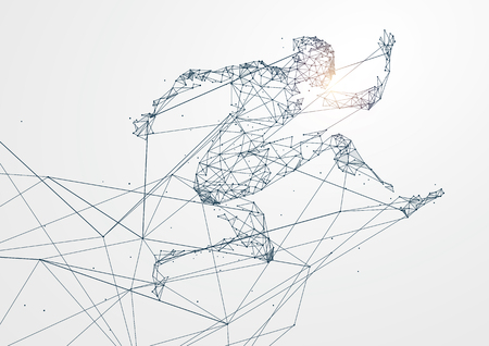Illustration for Running Man with Network connection turned into concept image - Royalty Free Image