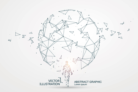 Foto de Lines connected to Science fiction scene, symbolizing the meaning of artificial intelligence. - Imagen libre de derechos