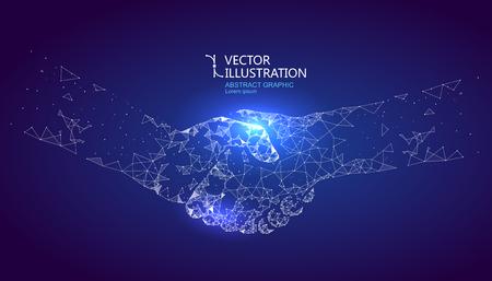 Ilustración de A handshake graphic formed by point and line connection, graphic design of science and technology. - Imagen libre de derechos