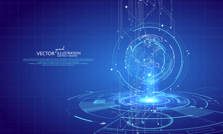 Illustration for Three-dimensional interface technology, science fiction scene. - Royalty Free Image