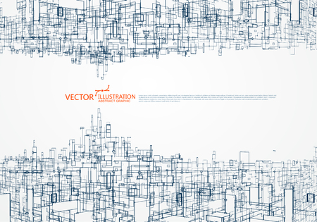 Ilustración de The concept of parallel universe,Virtual city graphic, the design of the virtual space. - Imagen libre de derechos