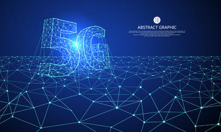 Ilustración de Internet connection, the concept of 5G whole network, abstract science and technology graphic design. - Imagen libre de derechos