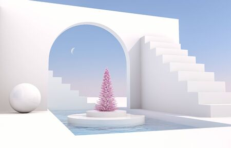 Foto de Scene with geometrical forms, arch with a podium in natural day light. minimal landscape with Christmas tree background. 3D render background. - Imagen libre de derechos