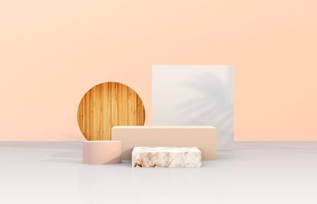 Photo pour Natural beauty podium backdrop with geometric shape for cosmetic product display. Abstract 3d composition background. - image libre de droit