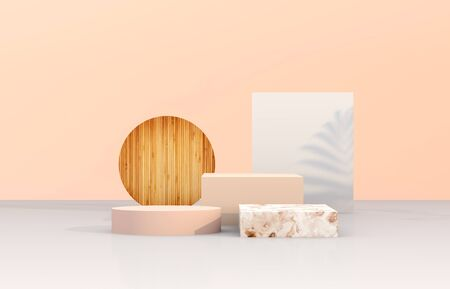 Natural beauty podium backdrop with geometric shape for cosmetic product display. Abstract 3d composition background.