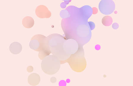 Photo for Abstract 3d art background. Holographic pastel floating liquid blobs, soap bubbles, metaballs. - Royalty Free Image