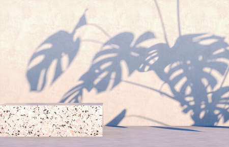 Photo pour Natural beauty podium backdrop for cosmetic product display with tropical palm leaves. 3d render. - image libre de droit