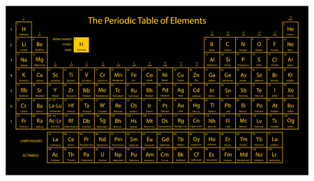 Ilustración de Periodic table of elements. Black and yellow colors. Vector illustration. - Imagen libre de derechos