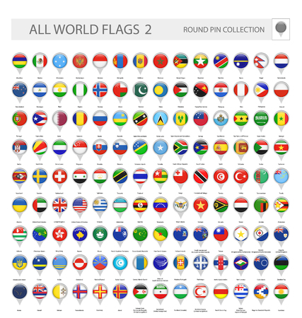 Illustration for Round Pin Icons of All World Flags. Part 2. All World Flags Vector Collection. - Royalty Free Image