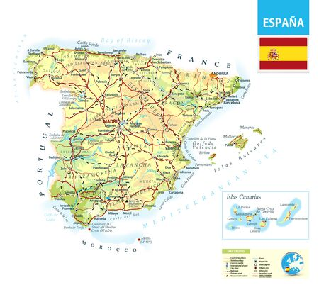Illustration pour Detailed physical map of Spain with roads,railroads and cities. - image libre de droit