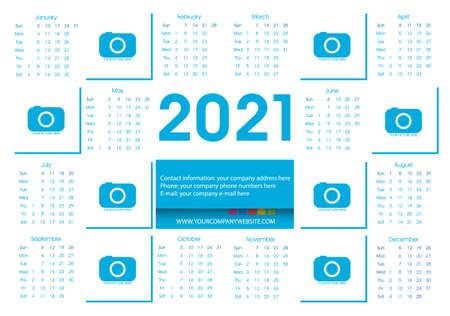 Illustration pour Calendar 2021 Blue Vector Flat Design Template. Week Starts Sunday. Vector. - image libre de droit