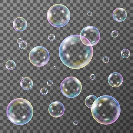 Illustration pour Soap bubbles on transparent background, vector set - image libre de droit