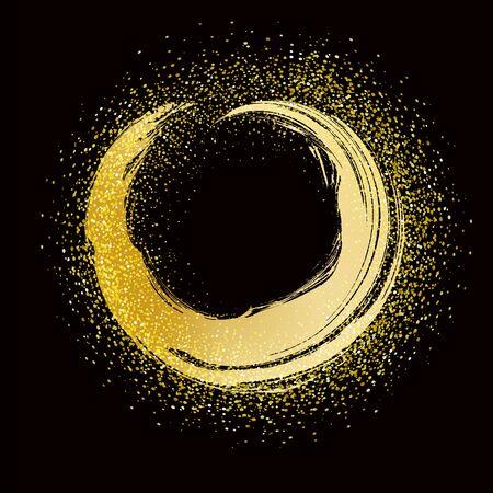 Illustration for brush stroke golden round frame on black background - Royalty Free Image