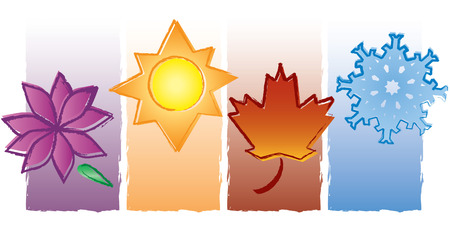 Each of the four seasons is represented in a painterly style