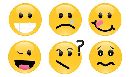 Six smileys, each with its own facial expression