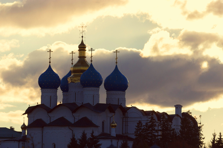 Church of Intercession on the River Kazanka in dawn