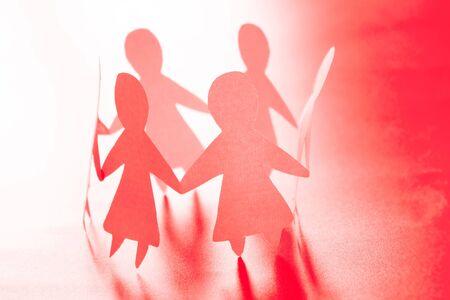 Photo pour Paper women together. Women power and togetherness concept - image libre de droit