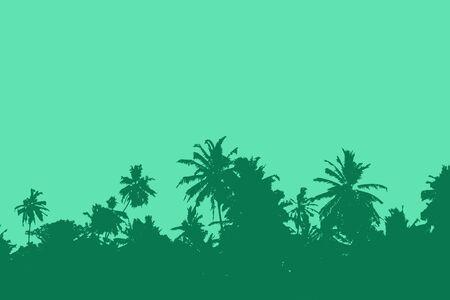 Photo pour Sunset over palm trees. Tropical sunset - image libre de droit
