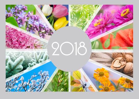 Photo pour Seasonal Calendar for 2018 year. Creative collage. Quarterly calendar of accountant. - image libre de droit