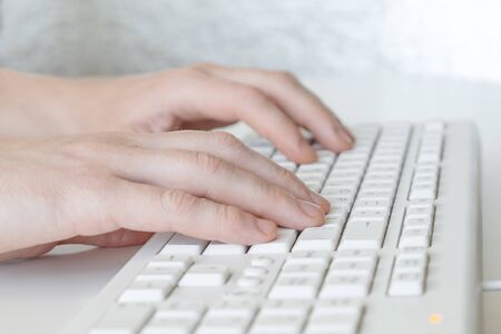 Photo for Man hands typing on computer keyboard, business man working on pc in office. Close-up - Image - Royalty Free Image